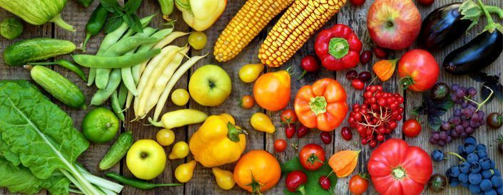 green, red, yellow, purple vegetables and fruits
