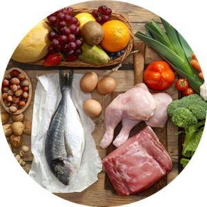 meats, fruits and vegetables