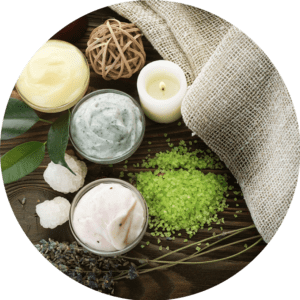 organic skincare products in bowls
