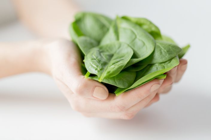 hands holding spinach leaves
